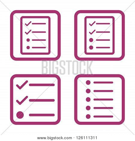 List Items vector icon. Image style is a flat icon symbol inside a square rounded frame, purple color, white background.
