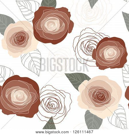Seamless vector vintage pale withered roses pattern on white background