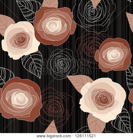 Seamless vector vintage pale withered roses pattern on black background