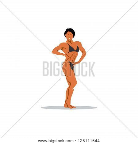 Athletic sports girl on a white background