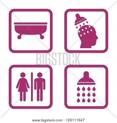 Sanitary vector icon. Image style is a flat icon symbol inside a square rounded frame, purple color, white background.