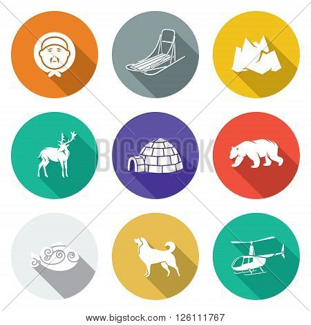 Isolated Flat Icons collection on a color background for design