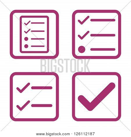 Valid vector icon. Image style is a flat icon symbol inside a square rounded frame, purple color, white background.