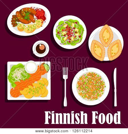 FIsh and meat dishes of finnish cuisine with flat icons of smoked salmon, served with fried potatoes and garlic sauce, cabbage stew, blood sausages with lingonberry sauce, spinach salad with cheese and cloudberries, karelian rice pie