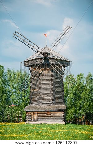 Old Wooden Windmill in Suzdal, Russia. Summer, Spring Season