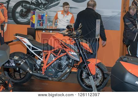 BRNO CZECH REPUBLIC-MARCH 4,2016: Austria motorcycle KTM Super Duke R 1290 at International Fair for Motorcycles on March 4,2016 in Brno in Czech Republic
