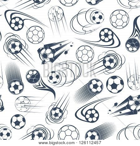 Football sport game pattern with gray and white seamless background of speed flight of soccer balls with curved and power motion trails. Sporting games, competition theme and scrapbook page backdrop design
