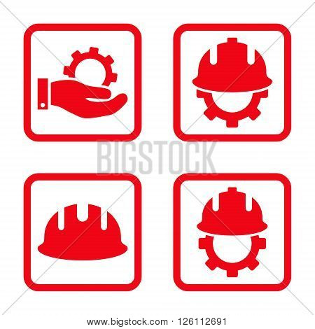 Development vector icon. Image style is a flat icon symbol inside a square rounded frame, red color, white background.