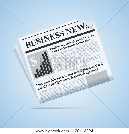 Business news newspaper illustration. Scalable vector newspaper icon for your web or print project.