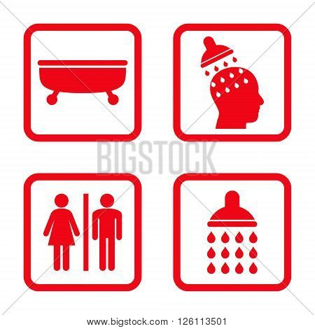 Sanitary vector icon. Image style is a flat icon symbol inside a square rounded frame, red color, white background.