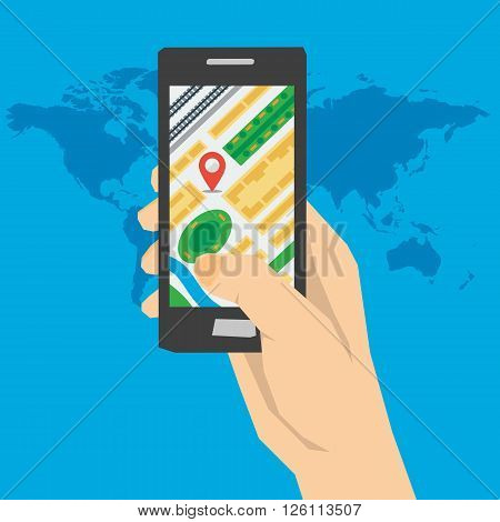 Vector concept using gps navigation. Hand holds smartphone with city map gps navigator. Easy and quick finding right route incity. Flat style. Web infographics