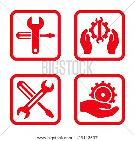 Service Tools vector icon. Image style is a flat icon symbol inside a square rounded frame, red color, white background.