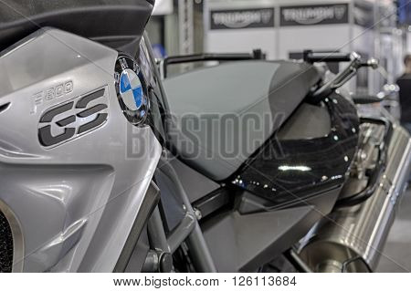 BRNO, CZECH REPUBLIC-MARCH 4,2016: Close up of inscription on motorcycle BMW F 800 GS on International Fair for Motorcycles on March 4,2016 in Brno in Czech Republic