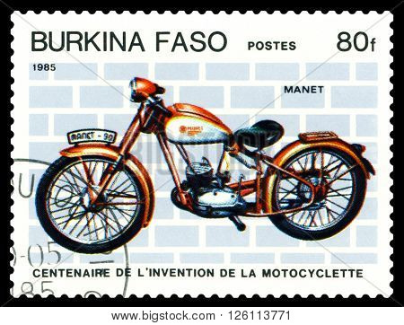 STAVROPOL RUSSIA - MARCH 16 2016: a stamp printed in Burkina Faso shows an old motorcycle Manet-90 stamp devoted to the centenary of the invention of motorcycle circa 1985