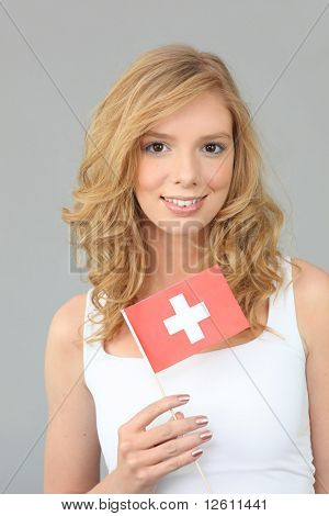 Portrait of a woman with flag of Switzerland