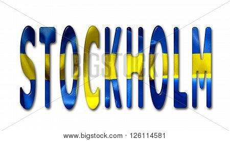 Berlin word with a bevelled Sweden flag texture on an isolated white background with a clipping path with and without shadows