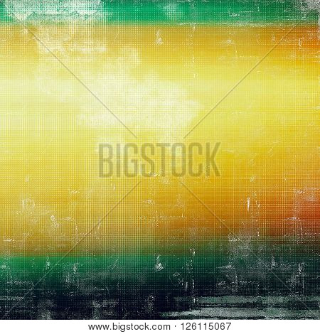 Mottled vintage background with grunge texture and different color patterns: yellow (beige); red (orange); green; black; white