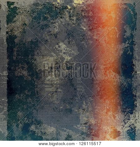 Creative grunge background in vintage style. Faded shabby texture with different color patterns: yellow (beige); gray; red (orange); blue