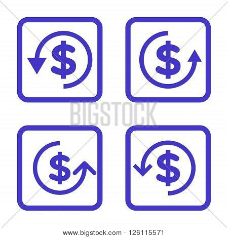 Refund vector icon. Image style is a flat icon symbol inside a square rounded frame, violet color, white background.