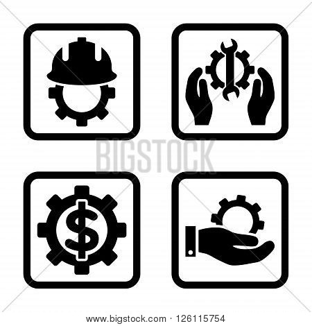 Development vector icon. Image style is a flat icon symbol inside a square rounded frame, black color, white background.