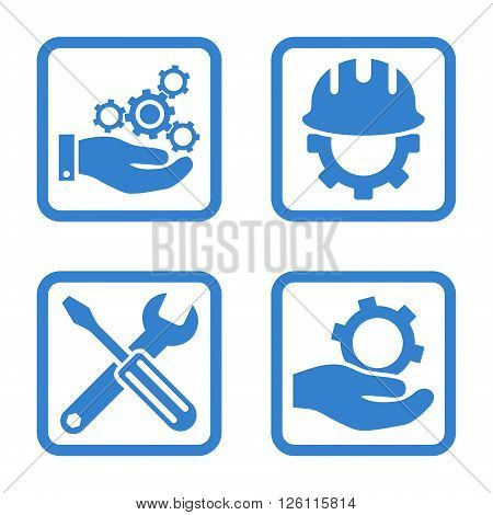 Development vector icon. Image style is a flat icon symbol inside a square rounded frame, cobalt color, white background.