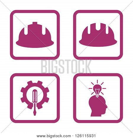Development vector icon. Image style is a flat icon symbol inside a square rounded frame, purple color, white background.