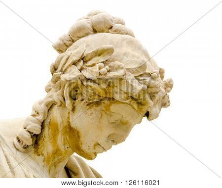 Fragment of statue at Fontana del Moro in Piazza Navona, Famous square filled with fountains in the heart of Rome, capital of Italy. Isolated on white.