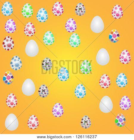 Easter eggs. Vector illustration. Easter eggs vector icons flat style. Easter eggs isolated vector. Easter eggs for Easter holidays design. Easter eggs isolated on orange background.
