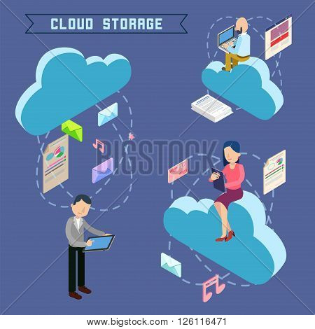 Cloud Storage Isometric Computer Technology. Vector illustration