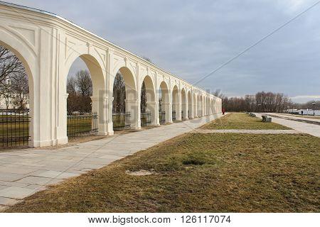 Velikiy Novgorod, Russia - 12 March, Arcade Gostiny Dvor on the waterfront, 12 March, 2016 Architectural tourist complex of Novgorod Yaroslav's Court.