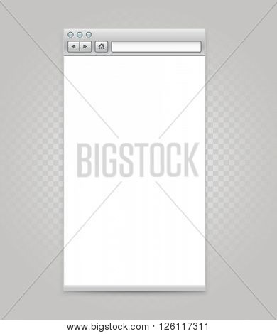 Opened browser windows template with transparent background. Past your content into it