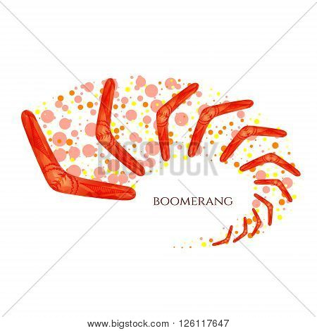 Boomerang in movement. Imitation of watercolor. Boomerang as a symbol of Australia. Isolated vector illustration.