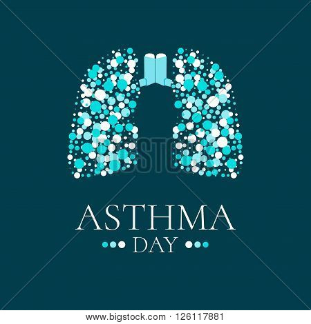 World Asthma Day. Vector illustration of inhalers and lungs filled with air bubbles on dark background. Bronchial asthma awareness sign. National asthma day. Asthma solidarity day. Lungs logo.