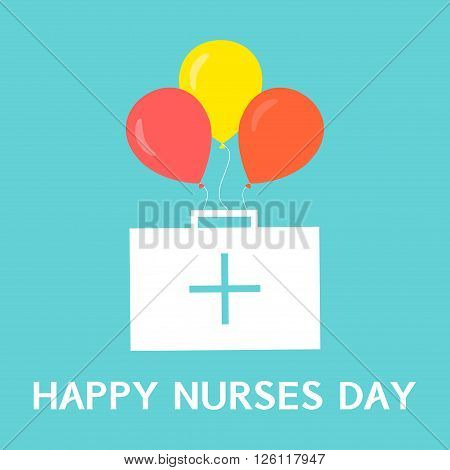 Happy nurses day poster. International nurses day symbol with first aid kit and balloons on green background. Medical concept. Vector illustration.