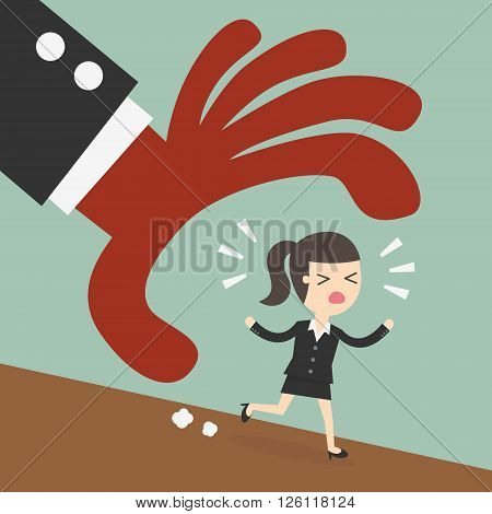 Escape businessman trying to run away from hand