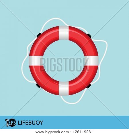 lifebuoy flat illustration, eps10 vector