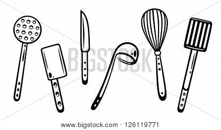 Gastronomy and cooking vector set, kitchen utensils.