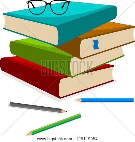 Book Pencil Spectacle Vector Illustration