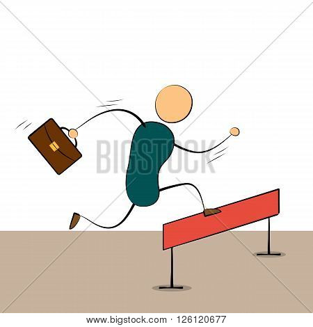 Vector illustration businessman cartoon character running and jumping over barrier to success. Drawing. Doodle