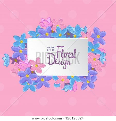Floral vector frame. Forget-me-not flowers and place for your text on pink polka dot background.