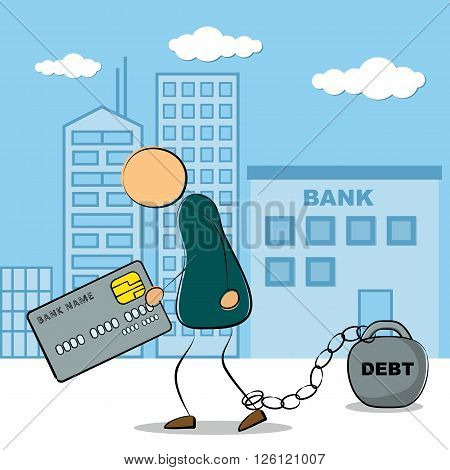 Vector illustration. Drawing. Businessman going from bank building with credit card and chained with debt in depression