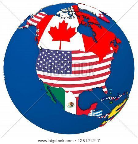 Political North America Map