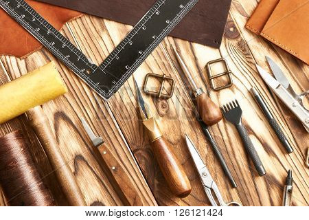 Leather crafting DIY tools flat lay still life