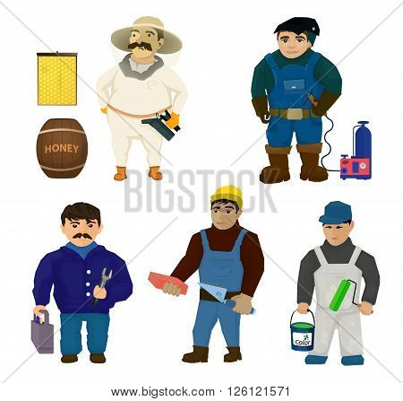 Characters for different working specialties. Beekeeper with paraphernalia a welder by welder electrician bricklayer and painter with paint vector. Men from the construction sector and the beekeeper.