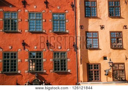 Houses on Stortorget square in Gamla stan Stockholm Sweden