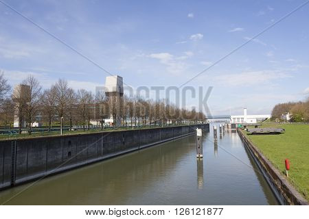 Rijswijk, netherlands, 11 april 2016: empty prinses marijke sluice in dutch amsterdam rijnkanaal in the netherlands on sunny spring day