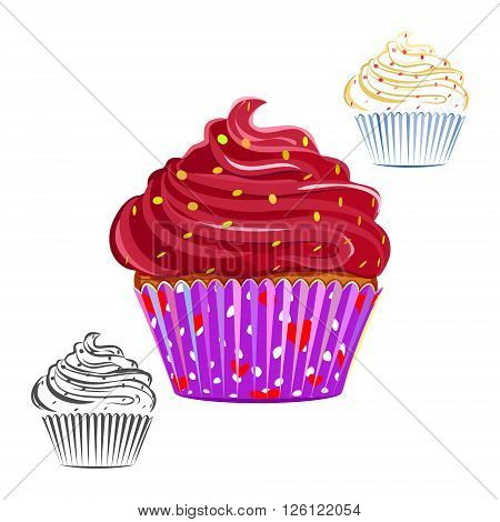 Chocolate swirl cupcake set isolated on white. Chocolate topping muffin outline line drawing. Great as web icons design elements or labels wrapping paper