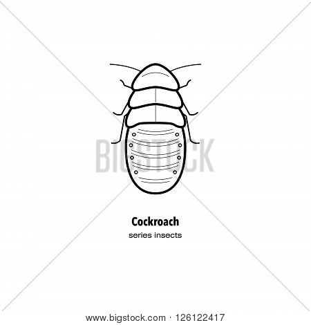 Vector illustration of an insect pest cockroach. Insect in a modern style mono line isolated on a white background. Black and white image of an insect.