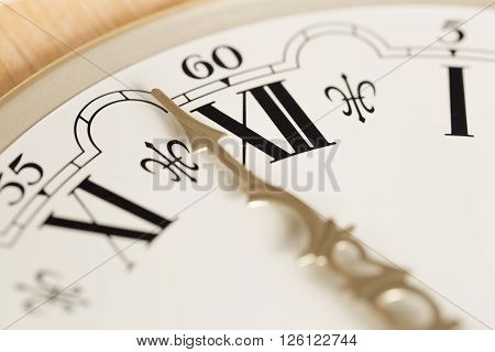 Clock Hand Close Up with Roman Numerals.