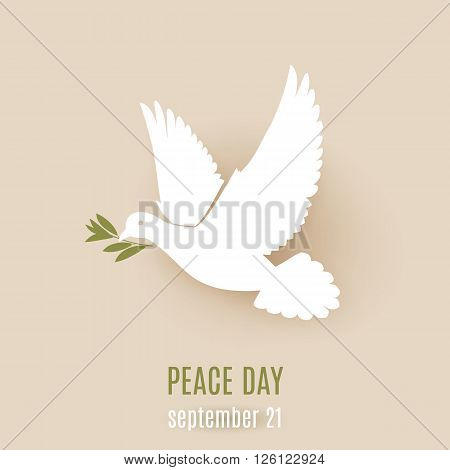 Peace day design with flying white dove with green twig in its beak